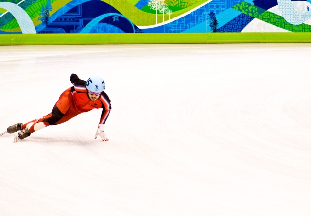 Charles Hamlin at the 2010 Winter Olympics in Vancouver, Canada. Photo by Andrea Sirois.